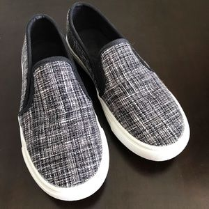 LOFT Black White Stitched Canvas Slip On Sneakers